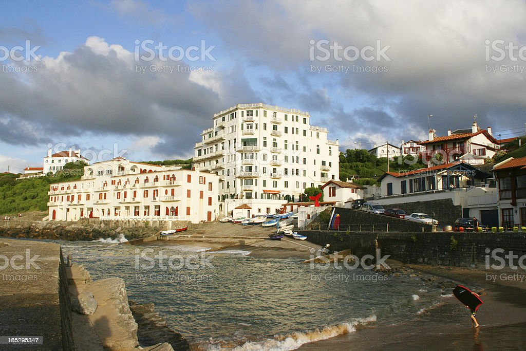 Guethary harbor at sunset, Pays Basque, France. stock photo