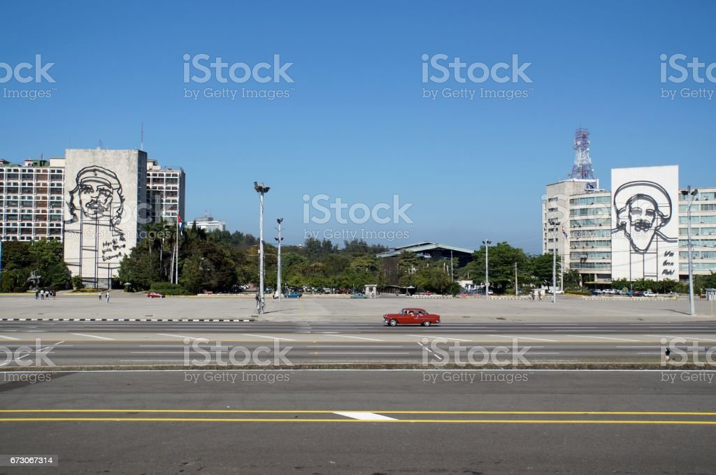 Guevara and Cienfuegos in Havana stock photo