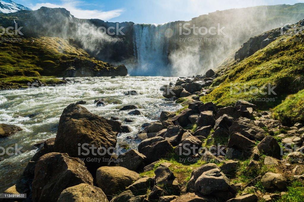 Gufufoss waterfall, Iceland стоковое фото
