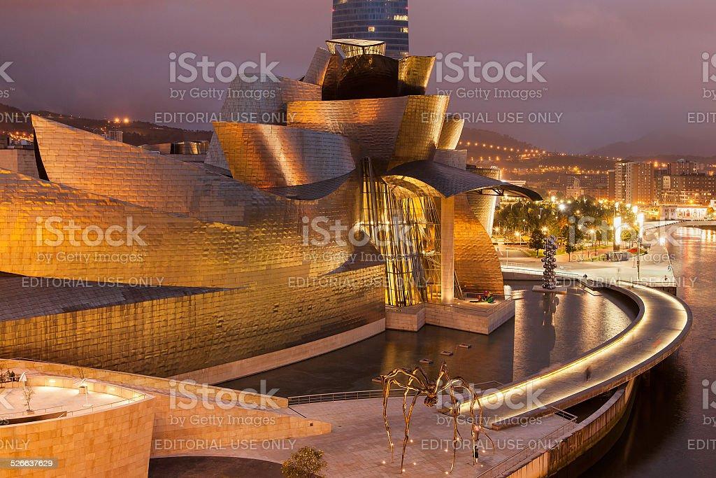 Guggenheim Bilbao by night stock photo
