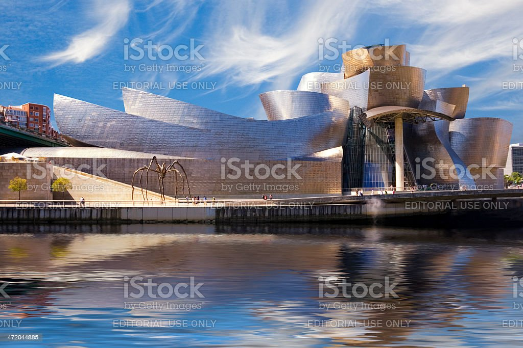 Guggenheim Bilbao museum reflection stock photo