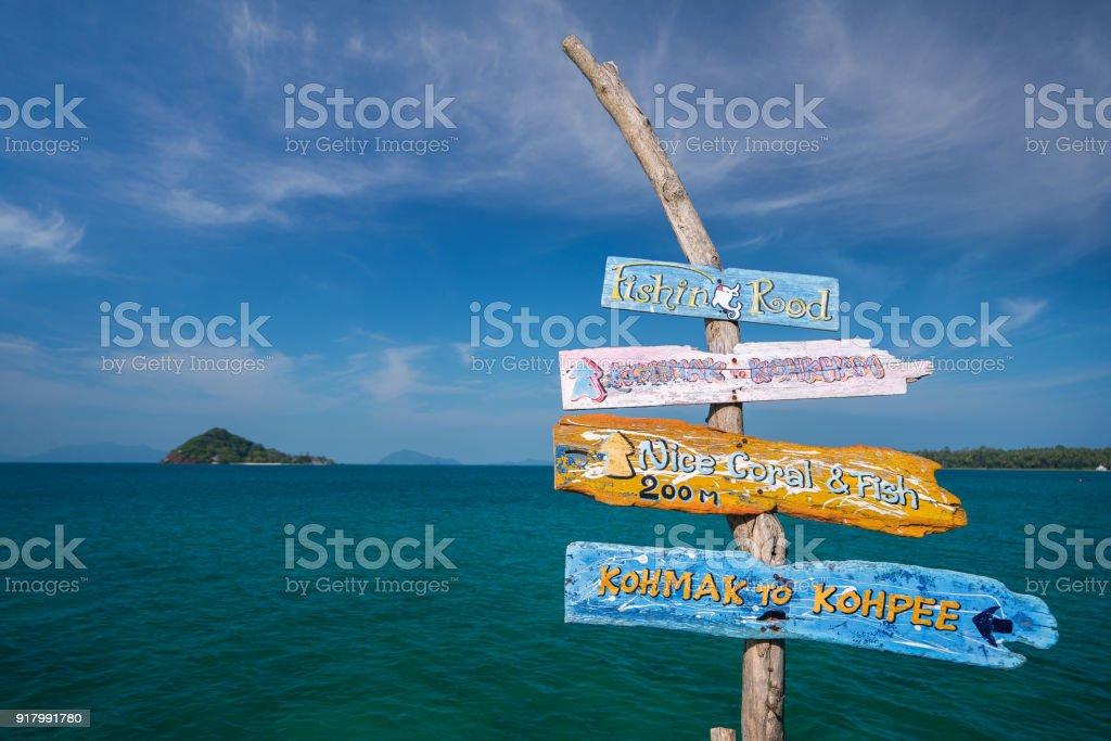 Guide post in Koh Kam island stock photo