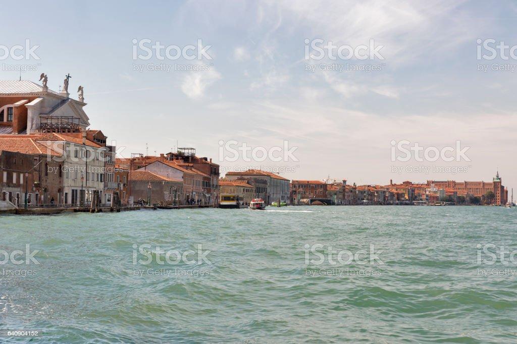 Guidecca island cityscape, view fron lagoon. Venice, Italy. stock photo