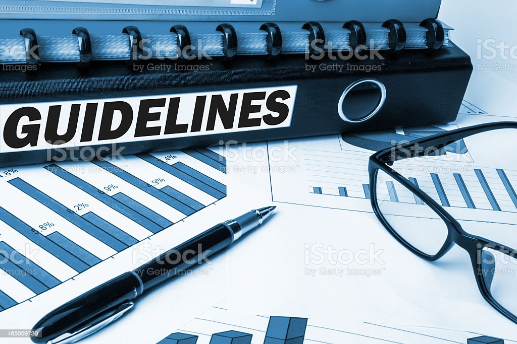 guidelines label on folder stock photo
