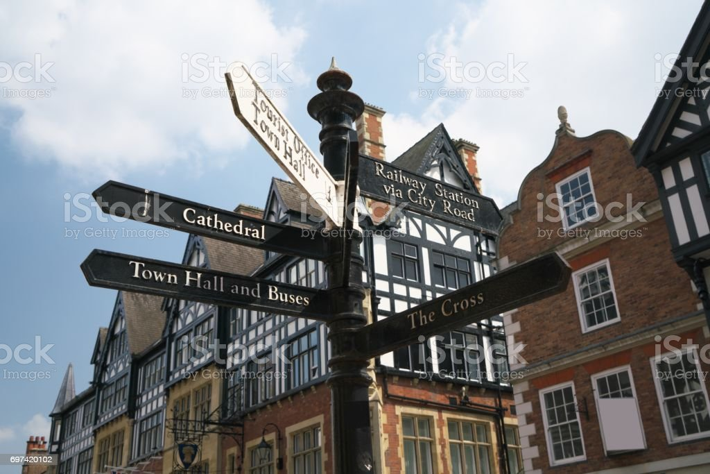 guidepost at Eastgate Street and St Werburgh Street in Chester stock photo