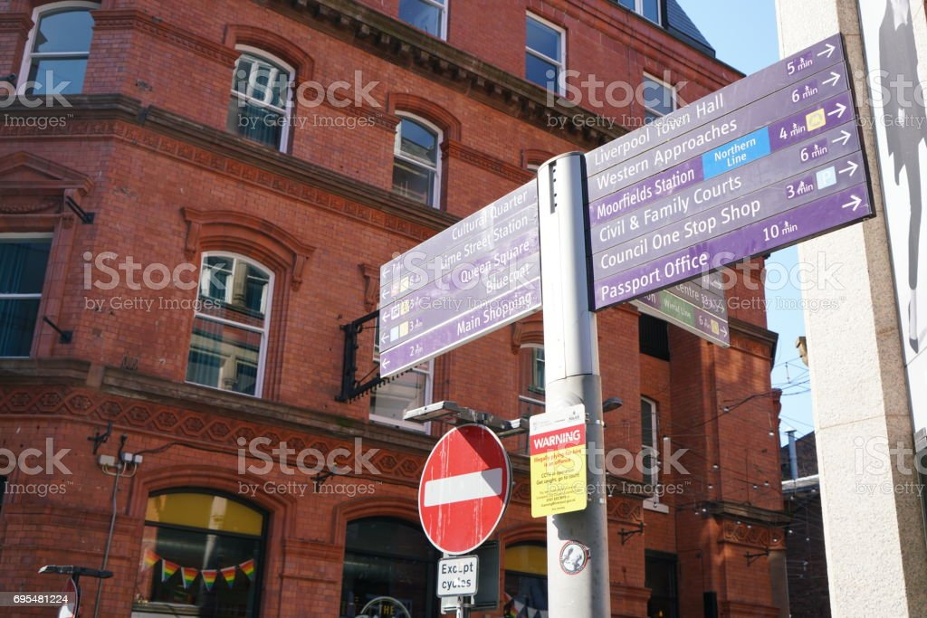 Guidepost at Stanley Street in Liverpool stock photo