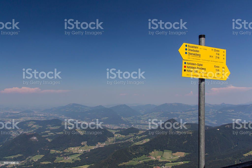 Guidepost at the Eagle's Nest at the Kehlstein in Germany stock photo