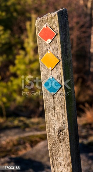 Guidepost with three different coloured plates marking three possible hiking paths in wildlife preserve