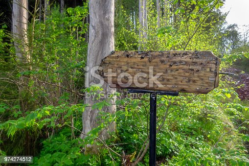 Guidepost unmarked in wildlife preserve