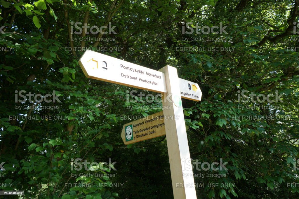guidepost stood near Aqueduct Llangollen, Wales stock photo
