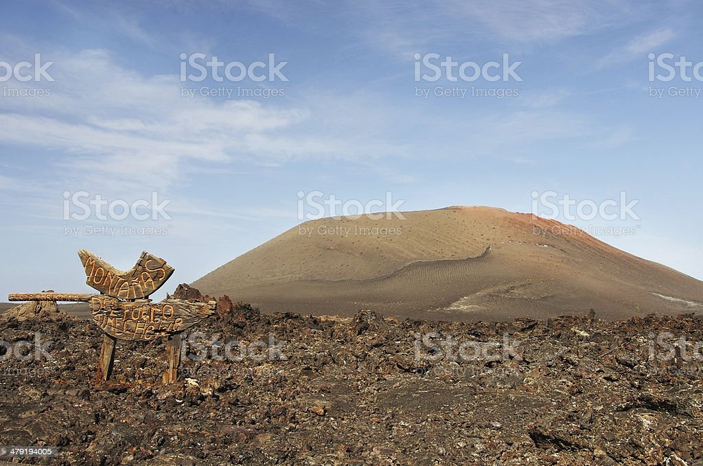 Guidepost to Timanfaya volcanic park, Lanzarote stock photo