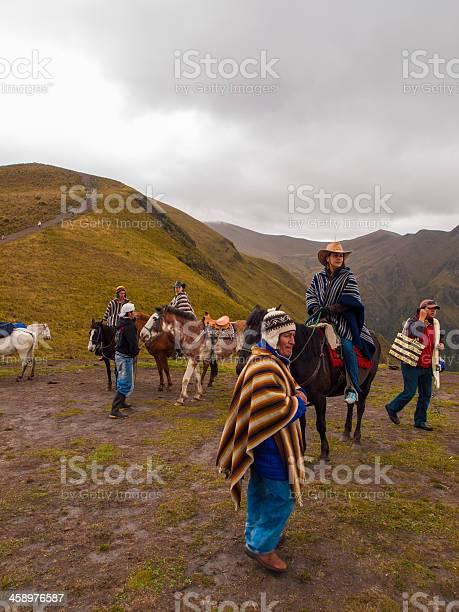 Guides and tourists on Pichincha volcano, Quito