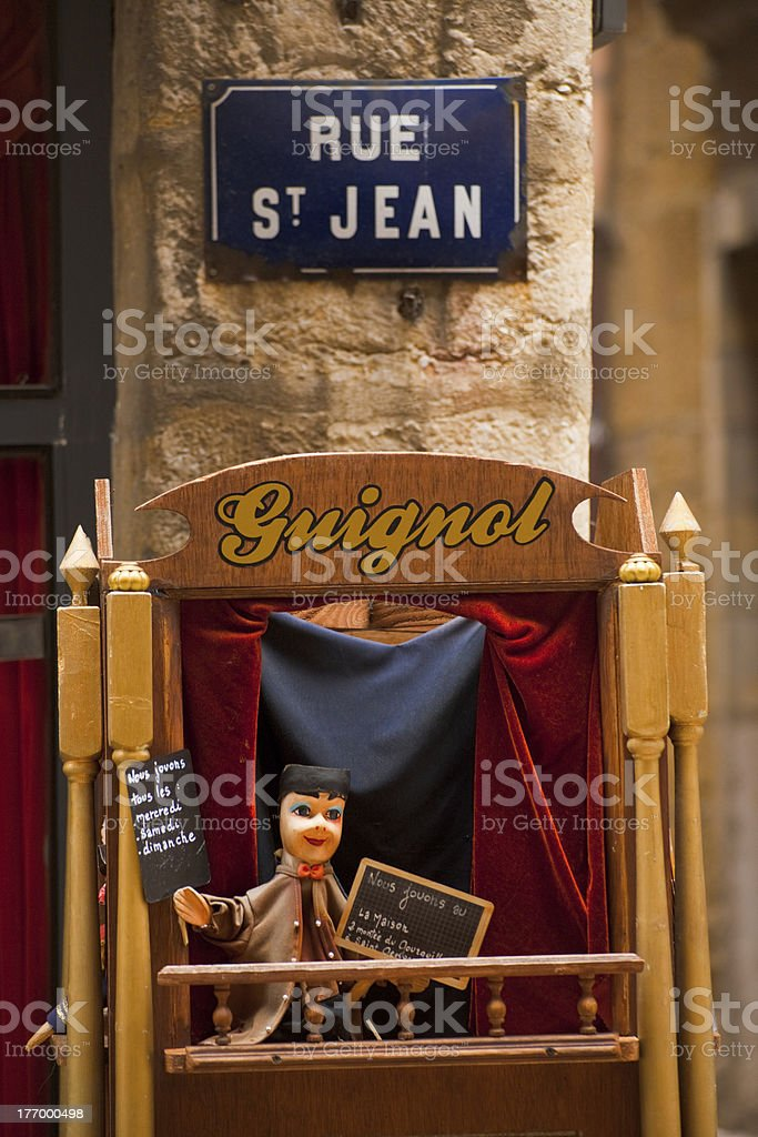 Guignol Puppet Show Stage stock photo