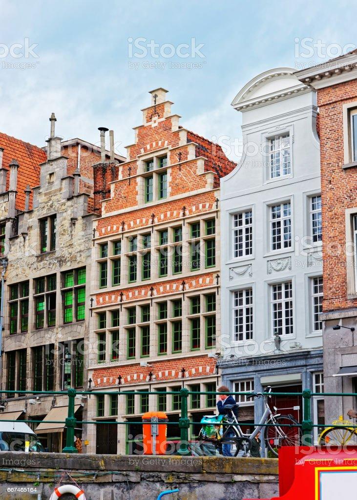 Guild halls on Graslei in Ghent stock photo