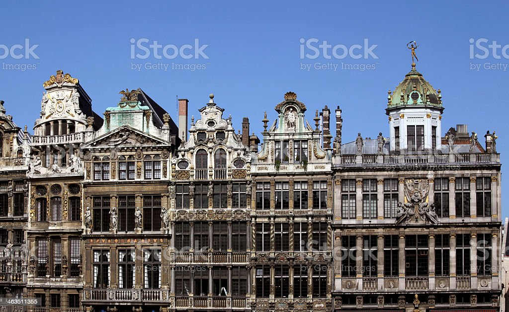 Guild Houses, Grand Place, Brussels, Belgium. stock photo