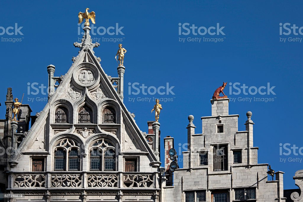 Guild Houses on Grote Markt, Antwerp, Belgium. stock photo