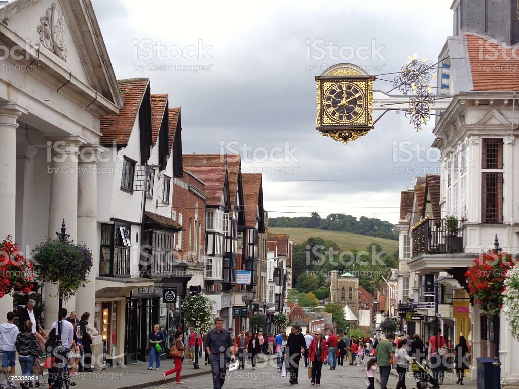 Guildford High Street on a summer's day stock photo