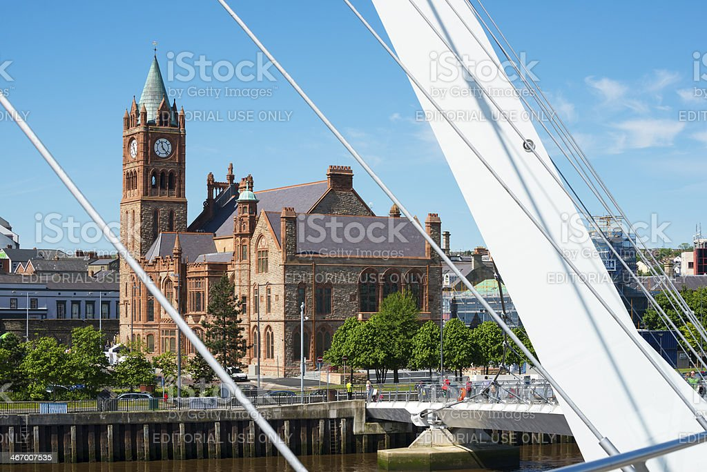 Guildhall and Peace Bridge in Derry stock photo