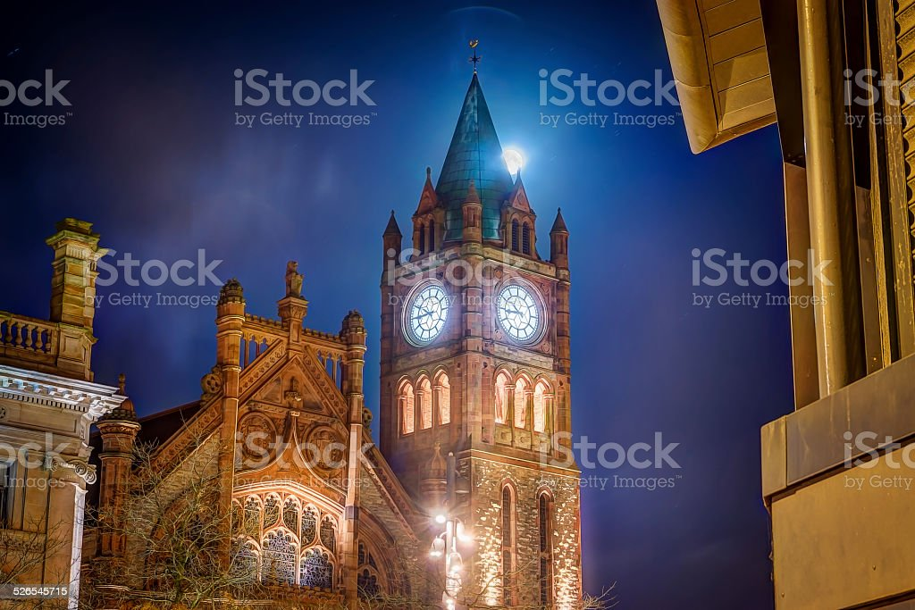 Guildhall in the moonlight stock photo