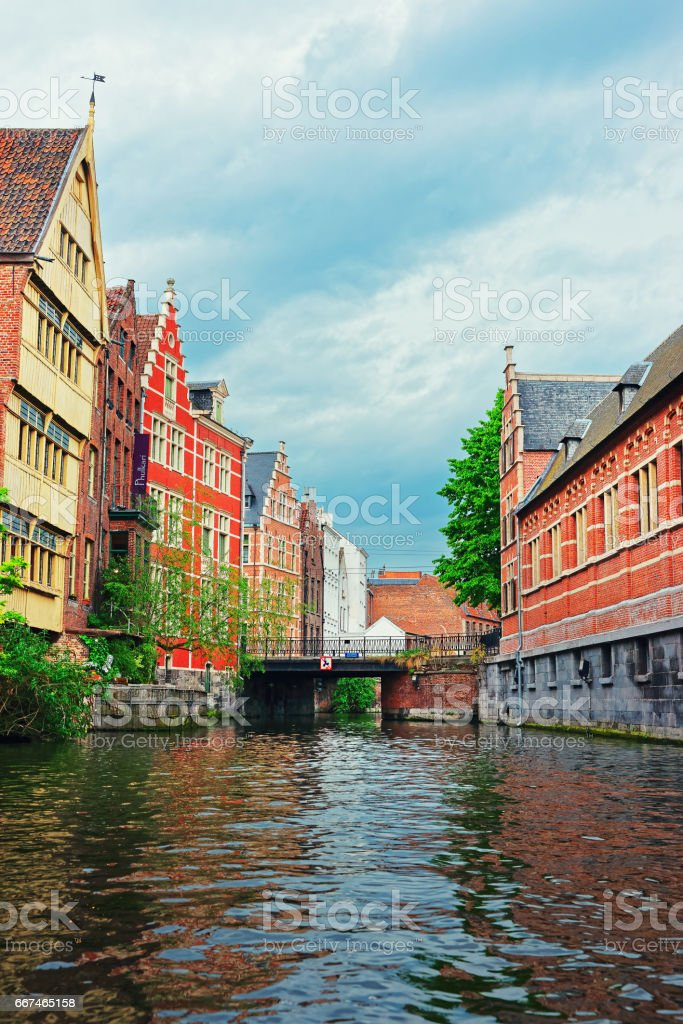 Guildhalls and buildings on Graslei and Korenlei in Ghent stock photo