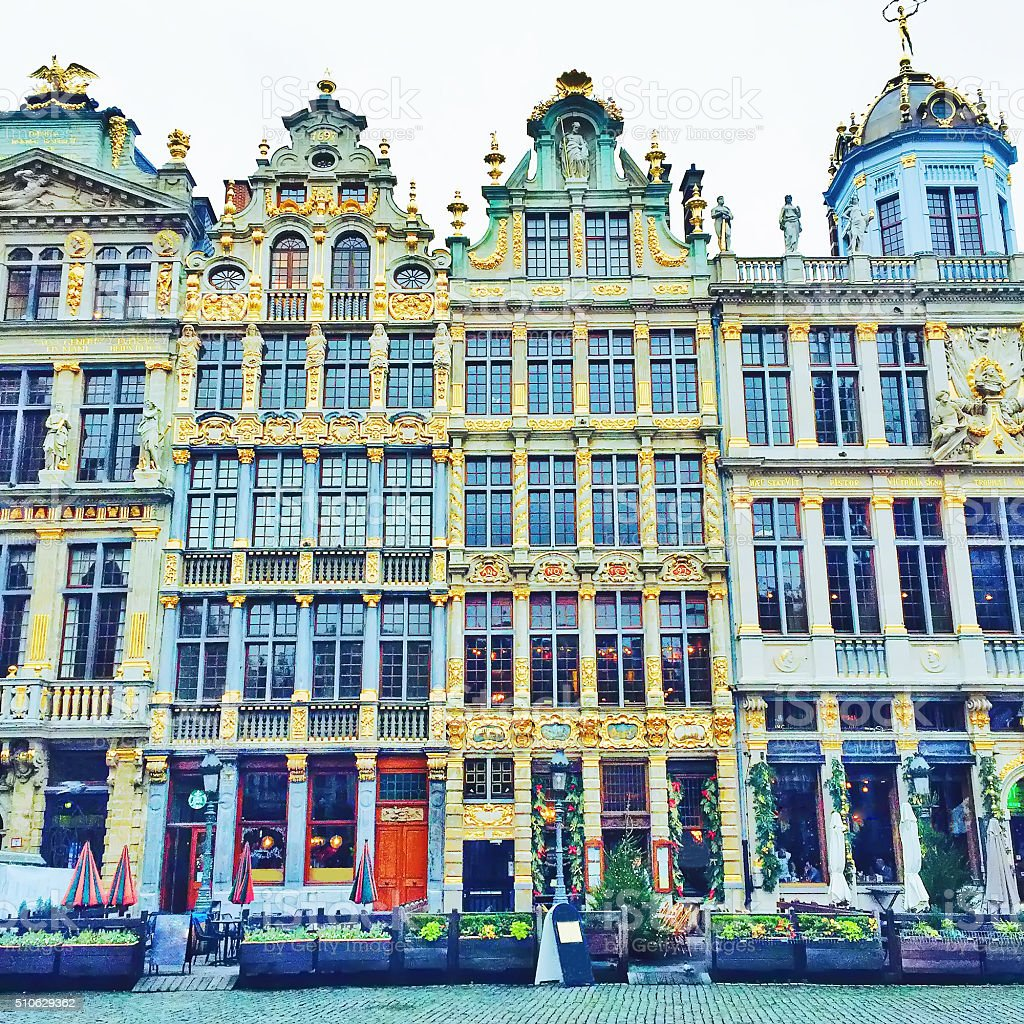 Guildhalls on the Grand Place in Brussels, Belgium stock photo