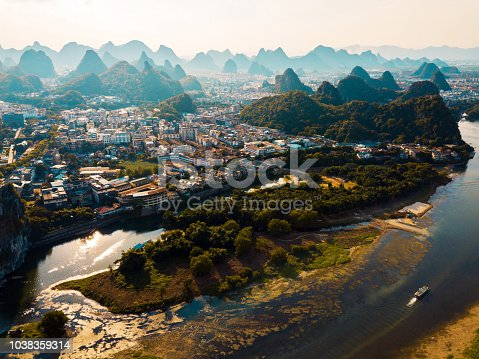 Guilin aerial view with Li river and stunning rock formations in China