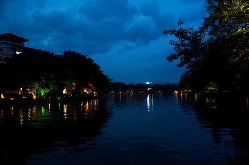 Lake Shan at night in Guilin China