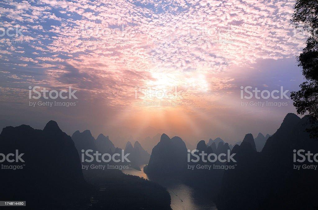 Guilin Li River at Dawn royalty-free stock photo