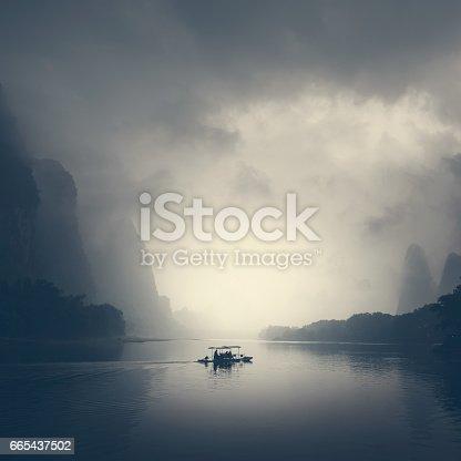 Beautiful Yu Long river Karst mountain landscape in Yangshuo Guilin, China