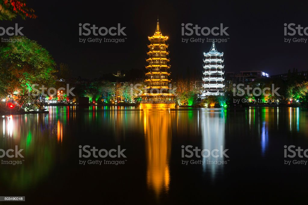 Guilin Reflection, GuangXi Province, China stock photo