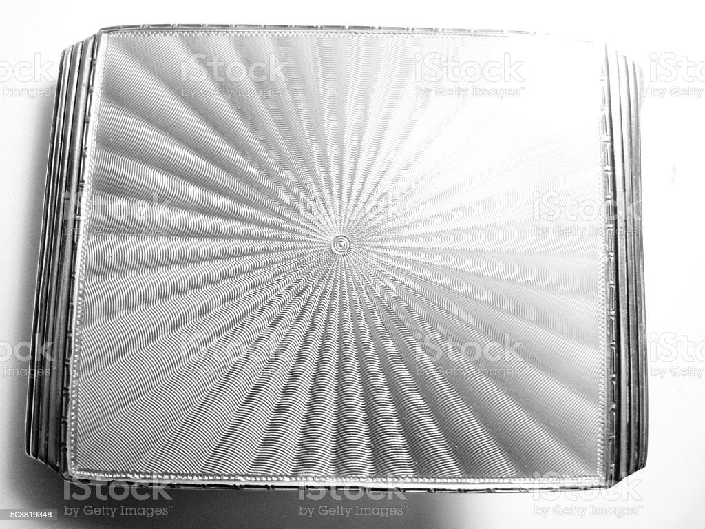 guilloche enamel cigarette case silver stock photo