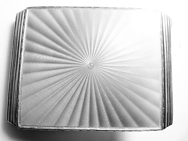 guilloche enamel cigarette case silver - guilloche stock photos and pictures