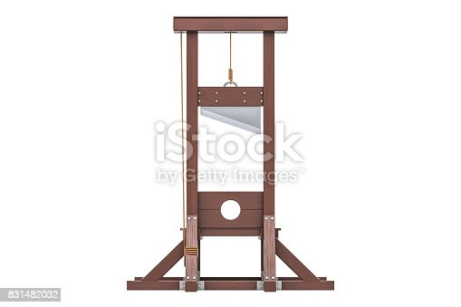 Guillotine closeup, 3D rendering isolated on white background