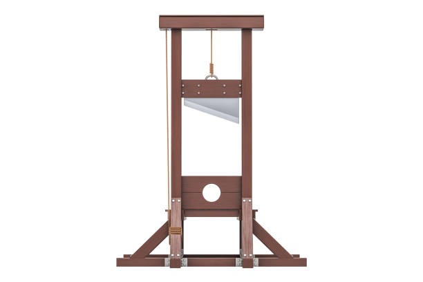 Guillotine closeup, 3D rendering isolated on white background stock photo