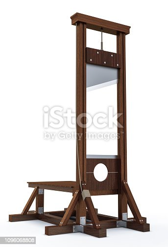 Old wooden guillotine instrument for inflicting capital punishment by decapitation isolated on white background. Old wooden instrument for execution. 3d Rendering illustration