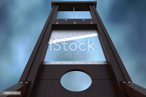 Guillotine instrument for inflicting capital punishment by decapitation and dramatic cloud background. Old wooden instrument for execution. Close up 3d Rendering illustration