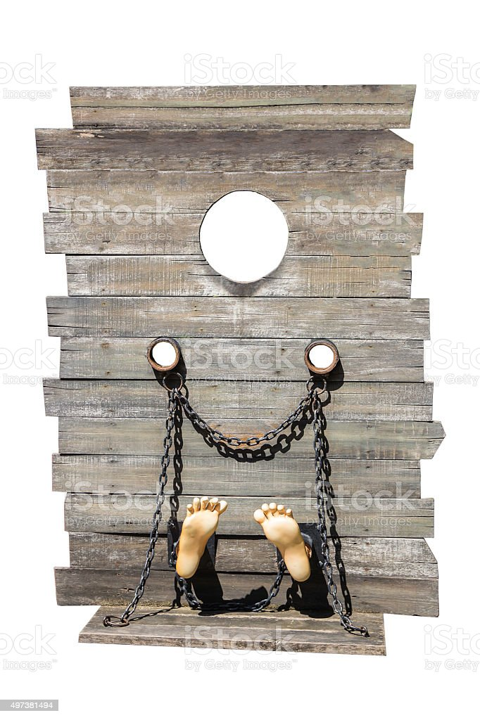 guillotine isolate on white background, a dead instrument stock photo