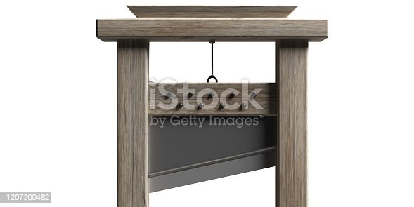 Guillotine, behead, decapitation instrument isolated against white background. Capital punishment, death penalty execution concept.  Closeup view, detail. 3d illustration
