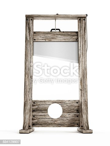 Old wooden guillotine isolated on white.