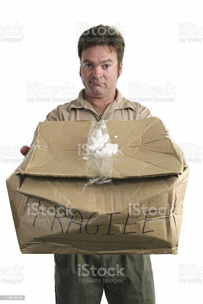 Guilty Delivery Man stock photo