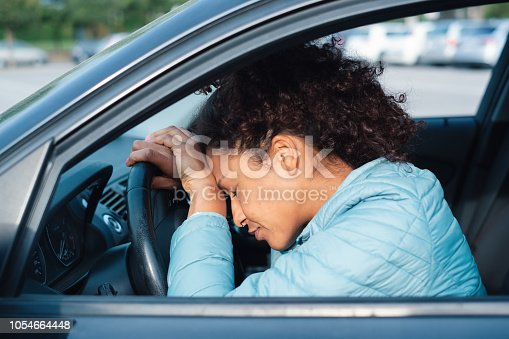 istock Guilty driver feeling bad after car crash 1054664448