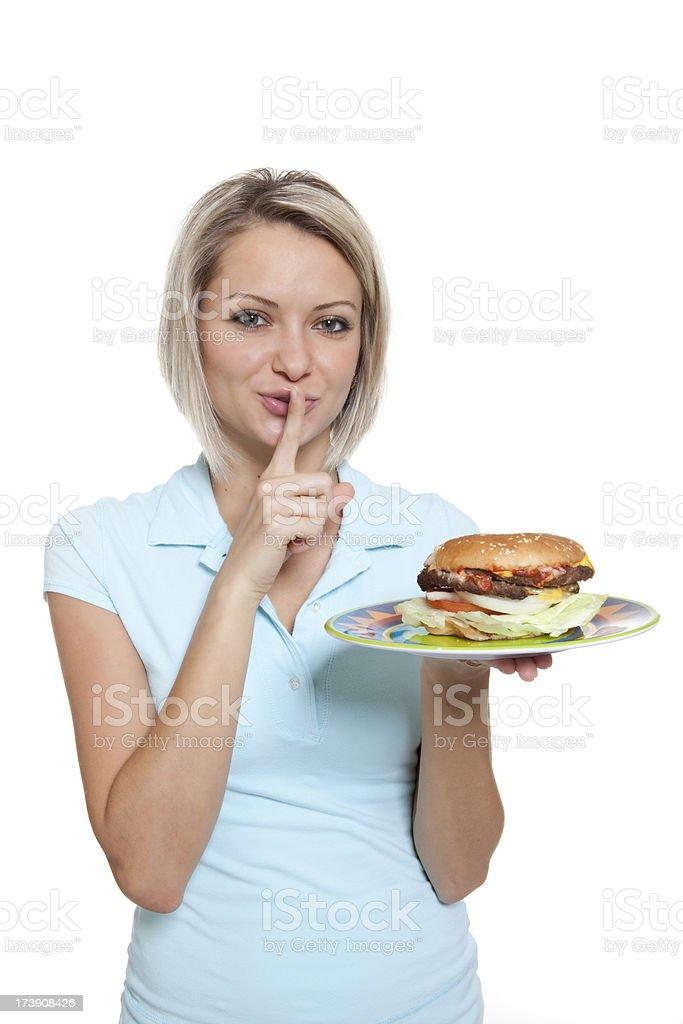 Guilty Pleasure of a Hamburger royalty-free stock photo