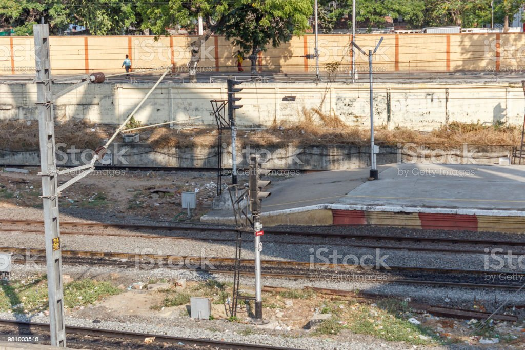 Guindy Railway Station Seen With Tracks And Traffic Signal