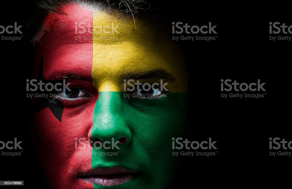 Guinea Bissau flag on face royalty-free stock photo