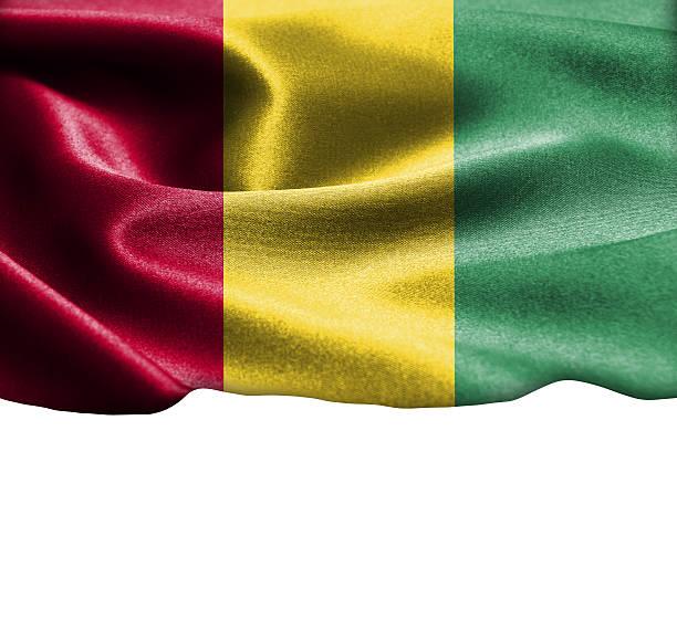 guinea fahne auf geschmeidiger seide textur platz für text - ramadan 2016 datum stock-fotos und bilder