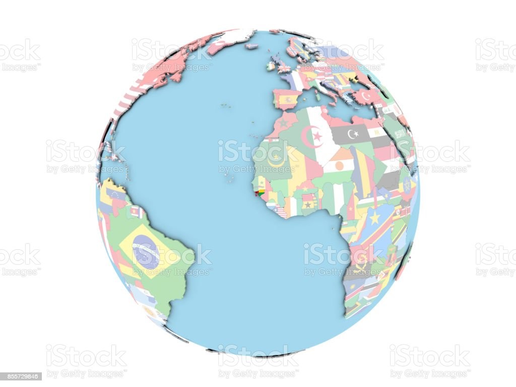 Guinea-Bissau on globe isolated stock photo