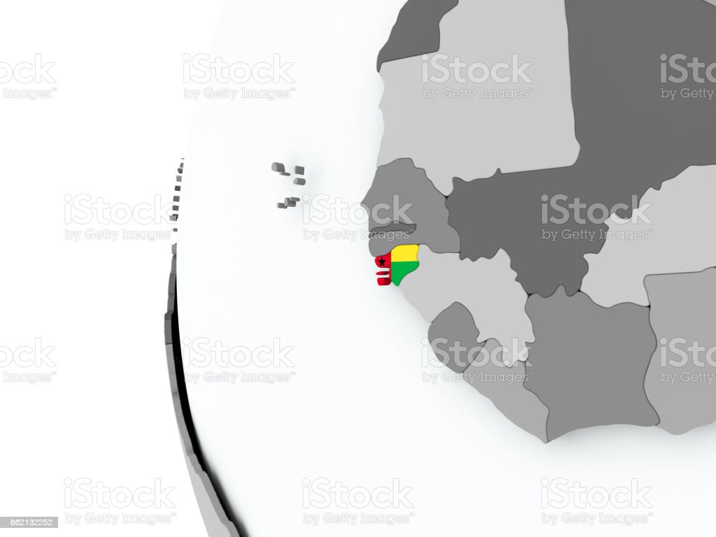 Guinea-Bissau on globe with flag stock photo