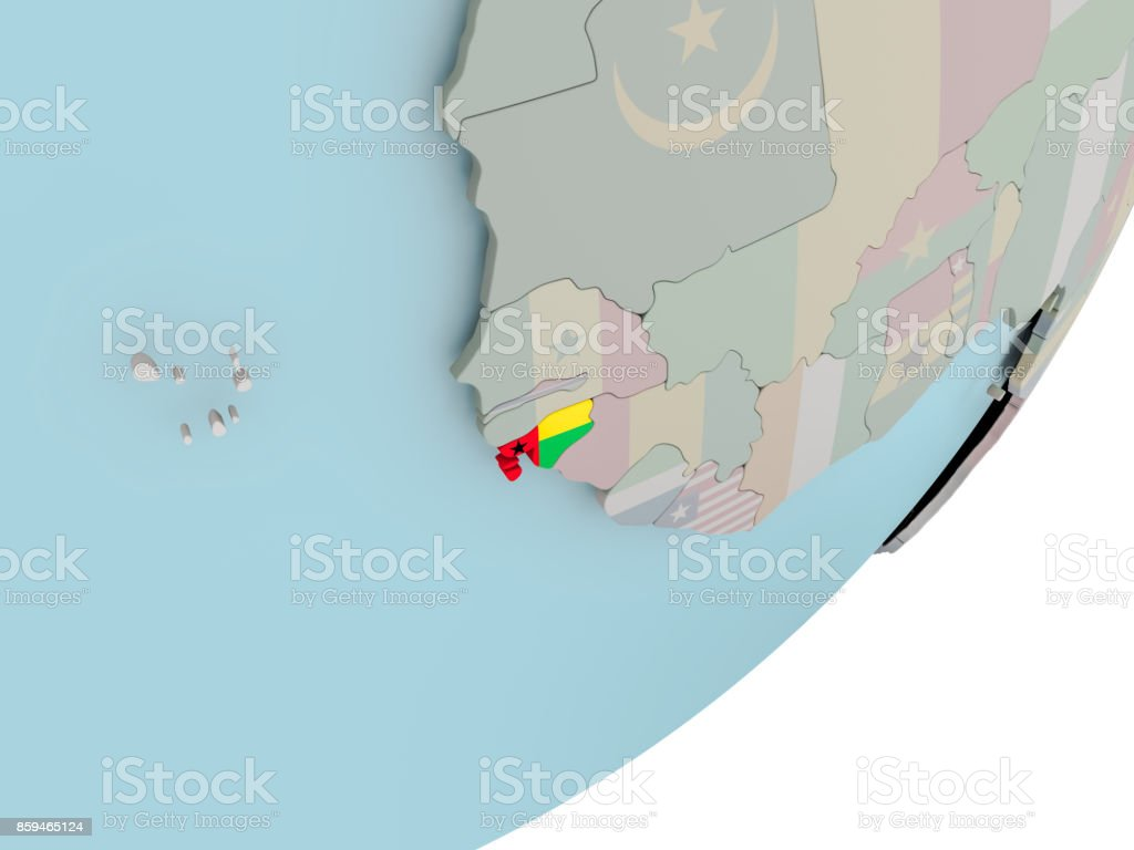 Guinea-Bissau on globe with flags stock photo