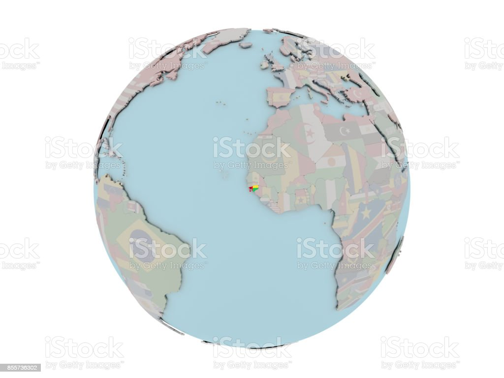 Guinea-Bissau with flag on globe stock photo