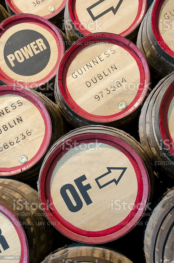 Guiness barrels in close up stock photo